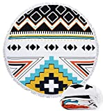 Beach Towels Round Roundie Yoga Picnic Mat Thick Terry Indian Mandala Geometric Patterns Wall Hanging Tablecloth Multi-Purpose Blankets with Fringe Tassels