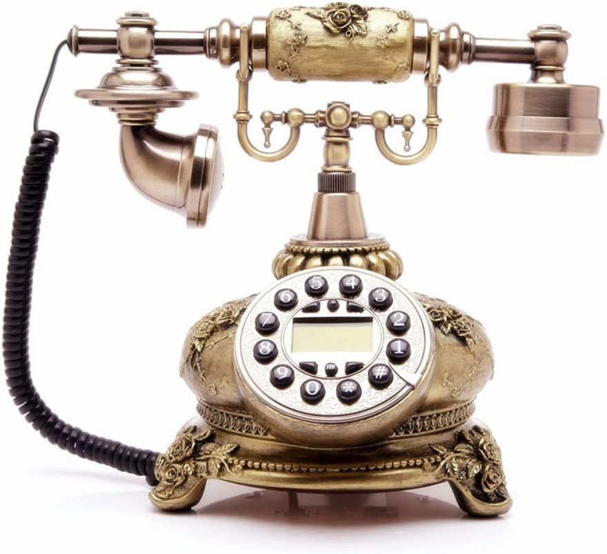TelPal Corded Antique Style Push Button Home Telephone Set, Old Fashion Phone Set, Best Gift for Home Decor