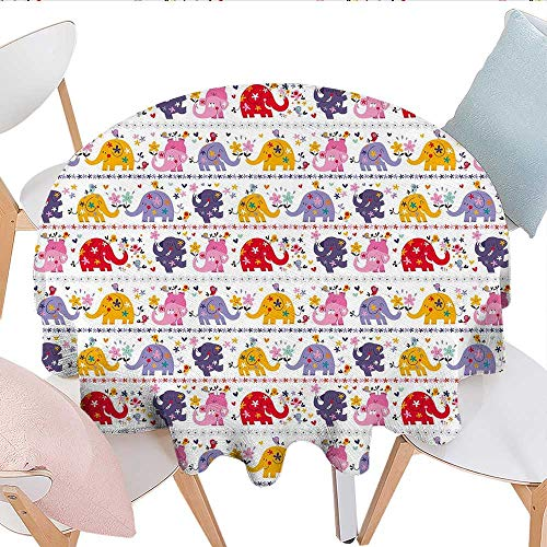Home-textile-print Kids Dinner Picnic Table Cloth Dancing Floral Elephant Characters Smiling Faces Colorful Daisies Happy Singing Birds Round Wrinkle Resistant Tablecloth D50 Multicolor -