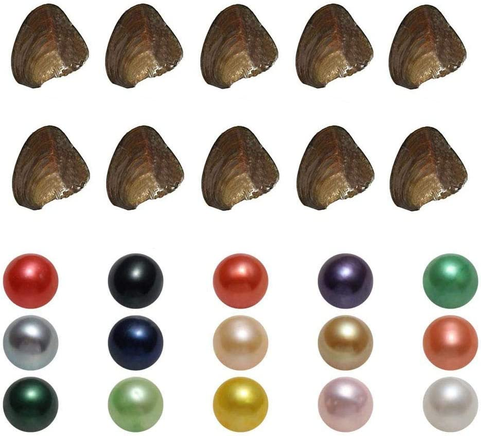 15PCS Freshwater Pearl Oyster Cultured Love Wish Round Pearls Various Shining Meaningful Color, Oysters with Pearls Inside (7-8mm, 15 PCS)