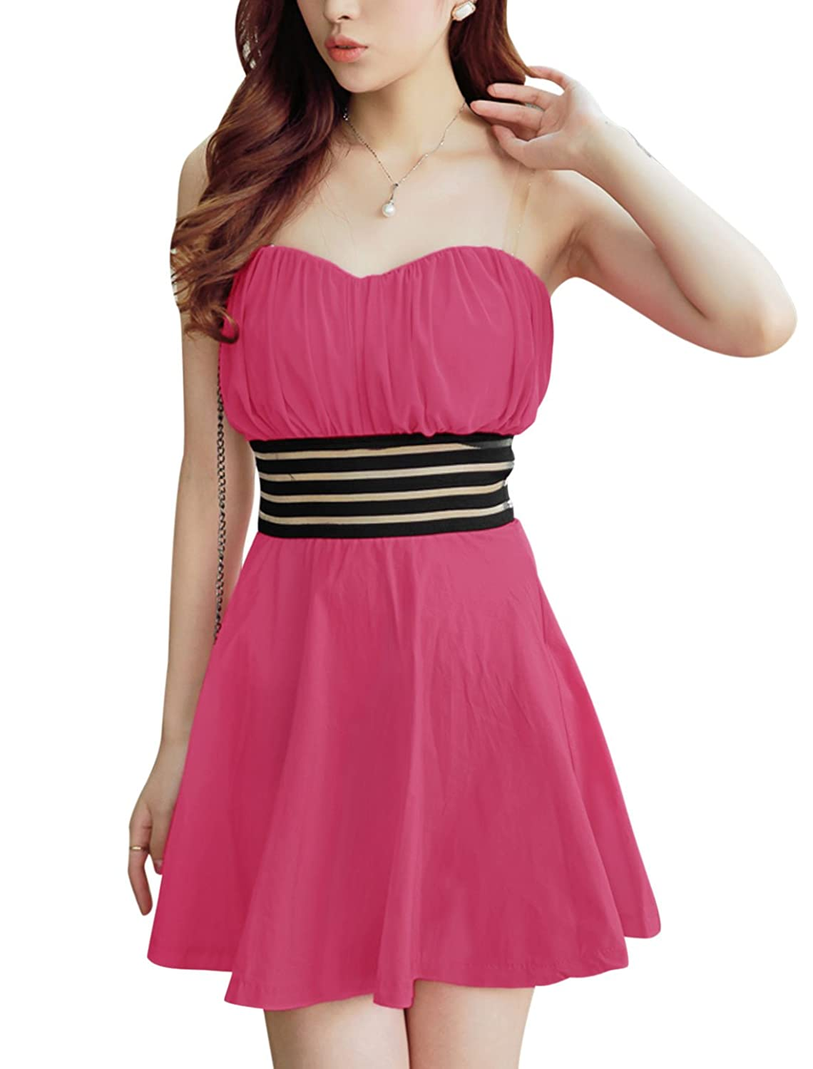 Ladies Pullover Elastic Waist Padded Bust Strapless Homecoming Dresses