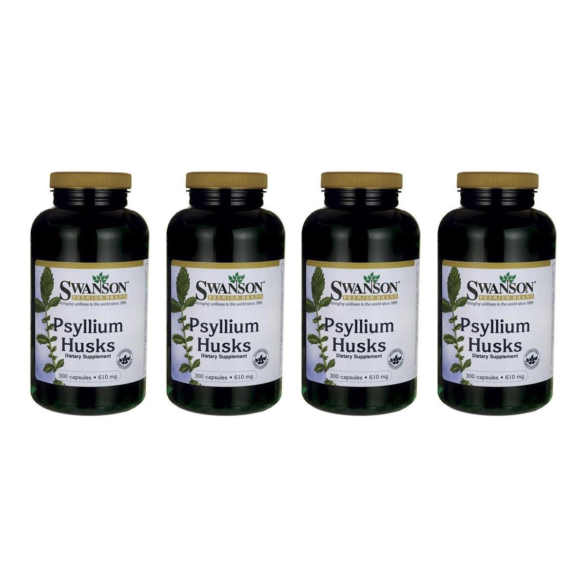 Swanson Psyllium Husk Digestive Weight Colon Health Dietary Fiber Supplement 610 mg 300 Capsules (Caps) (4 Pack)