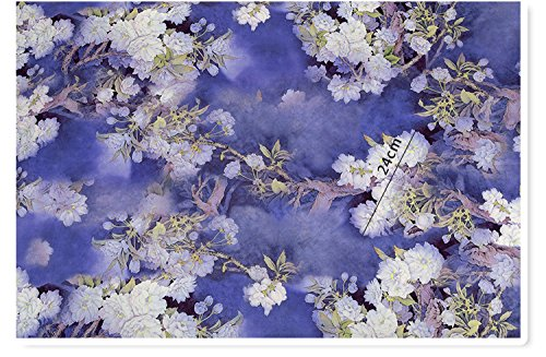 tangtutu-F0016 2018 New Chinese QiPao Cheongsam Silk Brocade Watered Gauze Fabric DIY Sewing Fabrics By The 1/2 Meter Wholesale Price 145cm x 50cm (2 snow lotus (1/2 meter)) (Silk Watered Fabric)