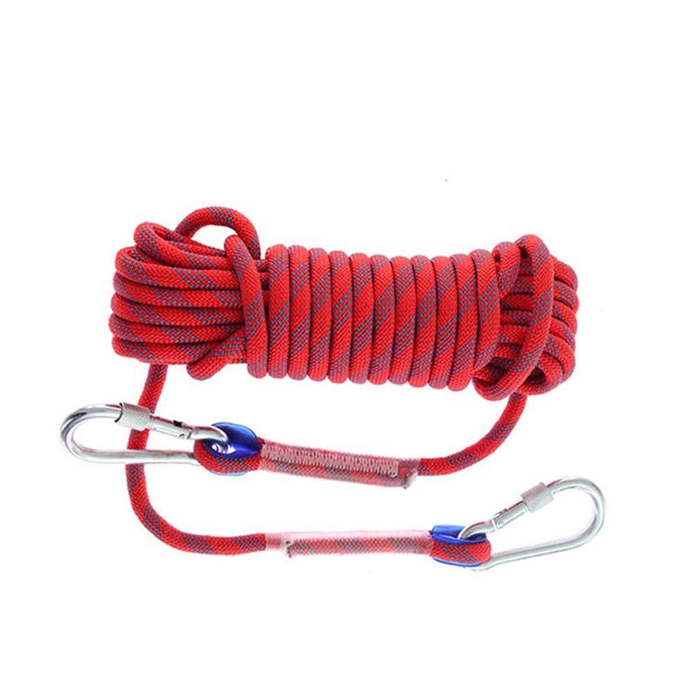 Rouge Escalade Corde Corde Statique intérieure pour Parachutistes de Secours, échappée de Secours en extérieur, Corde d'escalade pour Secours, 10, 20, 30, 40, 50 mètres et 12 mm 50m