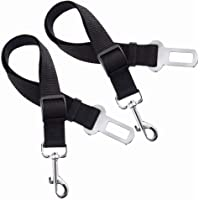 Aillvend Premium Adjustable Black Nylon Restraint Harness Leash Dog Seat Belt 2 Pack for Car Vehicle Traveling Safety