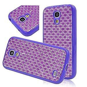 Seedan Bling Strass Diamond Design Case for Samsung Galaxy S4 mini GT-I9190 I9192 I9195 (Not Fit S4) Shiny Glisten Style Back TPU Soft Flexible Cover Skin Protective Shell - Purple