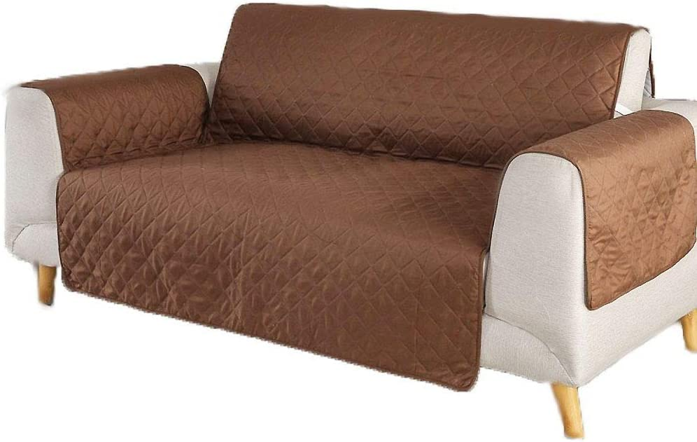 Solid Color Reversible Sofa Cover, Quilted Furniture Protector, Couch Covers for 3 Cushion Couch Couch Covers for Dogs Sofa slipcover-Brown Chair