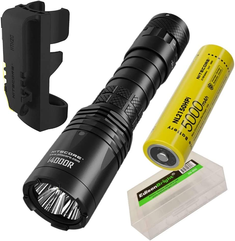 NITECORE i4000R 4400 Lumen USB-C Rechargeable Long-Throw Tactical Flashlight with 5000mAh Battery and EdisonBright Battery carrying Case bundle