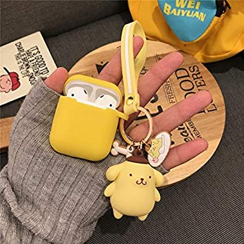 BALOO - Earphone Accessories - Japan Cartoon cute 3D Pom Pom Purin Cinnamoroll keychain Wireless Charging silicon case for AirPods 1 2 Bluetooth Headset cover (2)