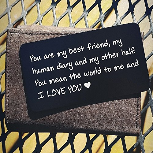 Handmade Engraved Aluminum Wallet Love Note Insert, Metal Wallet Card Insert, Mini Love Note - Romantic Gift for Him, Perfect Gift for Anniversary, Deployments, Weddings, Boyfriends, Husband (Handmade Wedding Anniversary Cards)