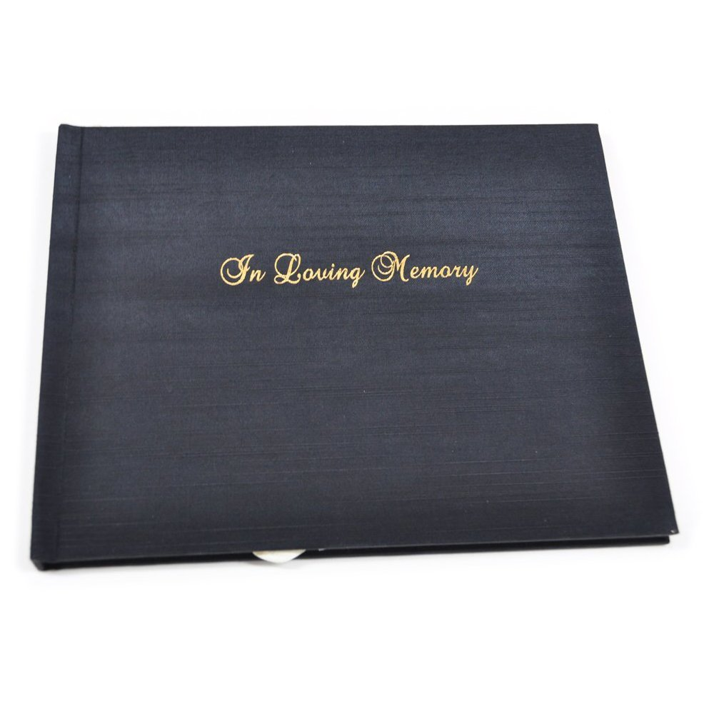''In Loving Memory'' Memorial Guest Book Embossed in Gold with Lined Pages - Black Satin