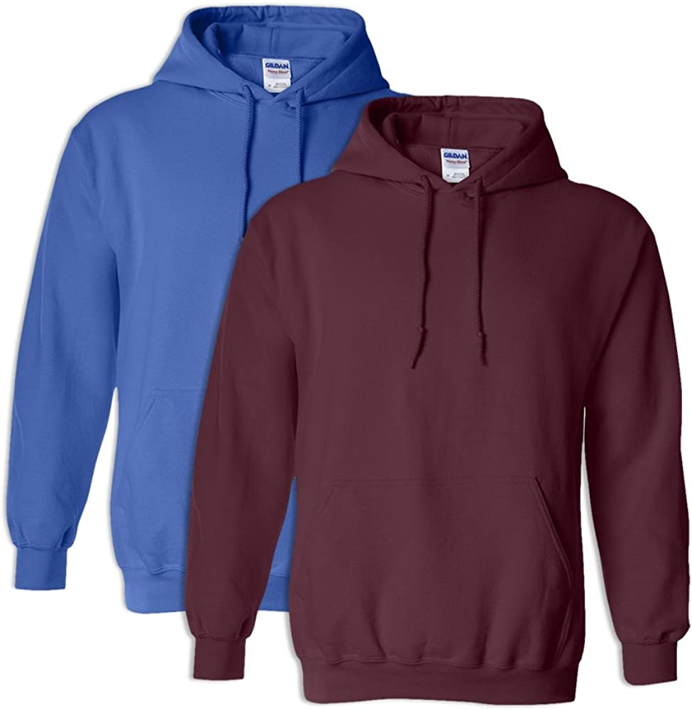 1 Maroon Gildan G18500 Heavy Blend Adult Unisex Hooded Sweatshirt 5XL 1 Royal