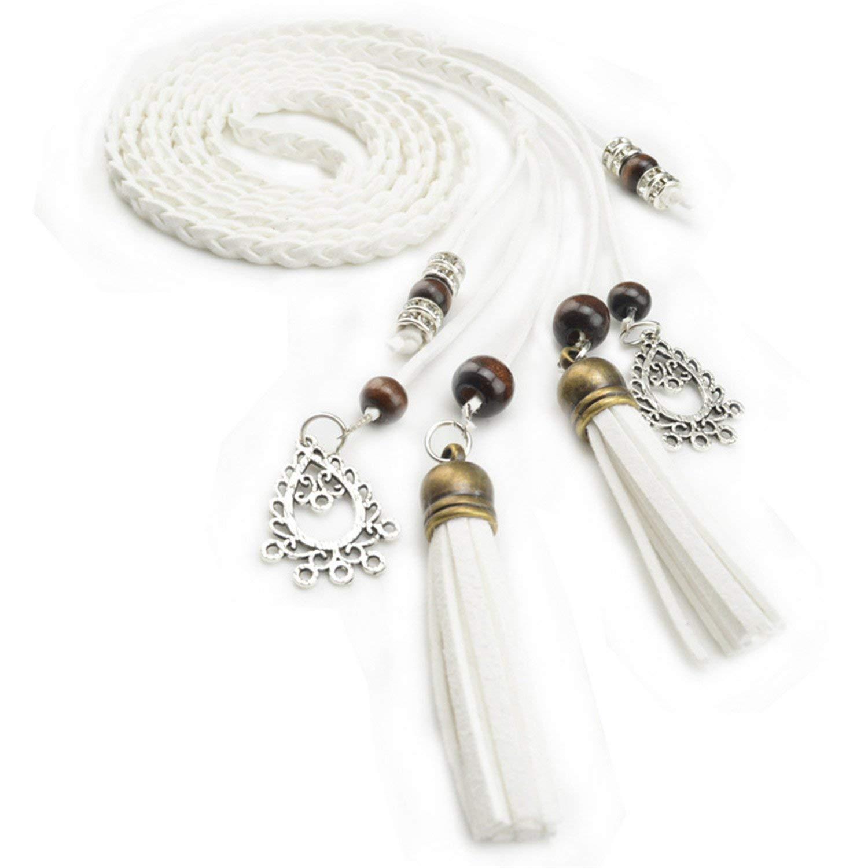 Beautface Makeup Fashion Braid Waist Belt Tassel Party Belts Cummerbunds for women Girls String Waistband Knitted Strap,170cm,White