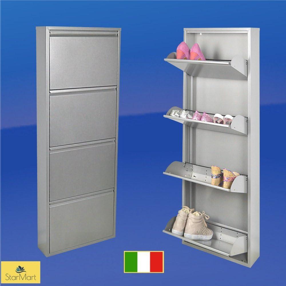 Zapatero metálico estrecho slim magik para 12 pares de zapatos en color, color gris