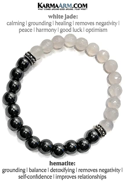 Amazon.com: KarmaArm Pulsera de Calming, Jade Natural Blanco ...
