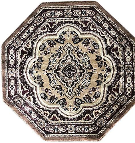 - emirates Traditional Oriental Persian Octagon Area Rug Beige Burgundy Brown Ivory Design 520 (7 Feet 9 Inch X 7 Feet 9 Inch)