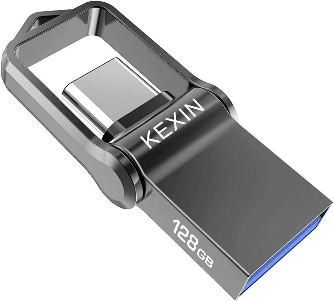 KEXIN Memoria USB 128GB 3.0 Tipo C Pendrive USB Metal Impermeable a prueba de golpes Llave Pendrive USB 2 en 1 Memory Stick U Disco OTG Flash para Samsung/HUAWEI/ Macbook Pro PC (Negro)