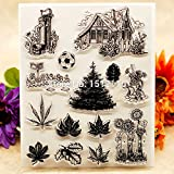 House Garden Well Mailbox Leaves Scrapbook DIY Photo Cards Account Rubber Stamp Clear Stamp Transparent Stamp 14x18cm KW671404 LDCRE