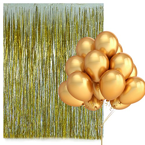 Home Kitty Metallic Gold and Sliver Foil Fringe Shiny Laser Curtain ( 2 Pcs)- 39.4X78.8 inch-and 100 Pack 12 Inches Gold Latex Party Balloons for Parties Decorations Photo Booth Decorations