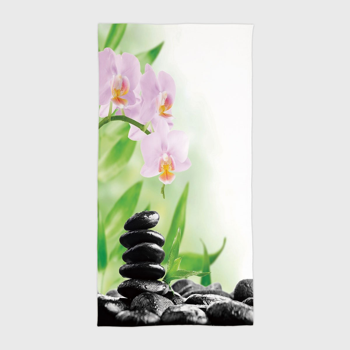 One Side Printing Hotel SPA Beach Pool Bath Hand Towel,Spa Zen Basalt Stones and Orchid with Dew Peaceful Nature Theraphy Massage Meditation Decorative Black Pink Green,for Kids Teens and Adults