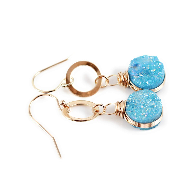 Silver-tone Light Aqua Blue Faux Druzy Stone Stud Earrings 10mm
