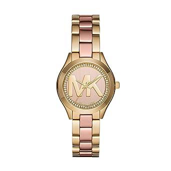 68172de0f2fb Amazon.com  Michael Kors Women s Mini Slim Runway Gold-Tone Watch ...