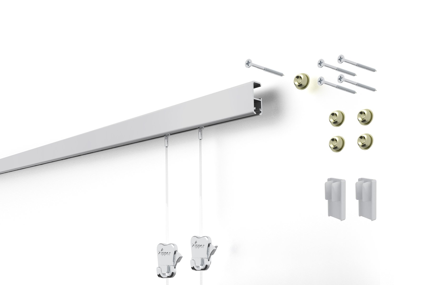 STAS Cliprail Pro Picture Hanging System- Complete Kit (1 rail 2 hooks and cords, matte silver rails)