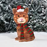 Outdoor Light-Up Christmas Furry FLUFFY TINSEL SANTA KITTY CAT Holiday Lawn Sculpture Lighted Yard Ornament Decoration