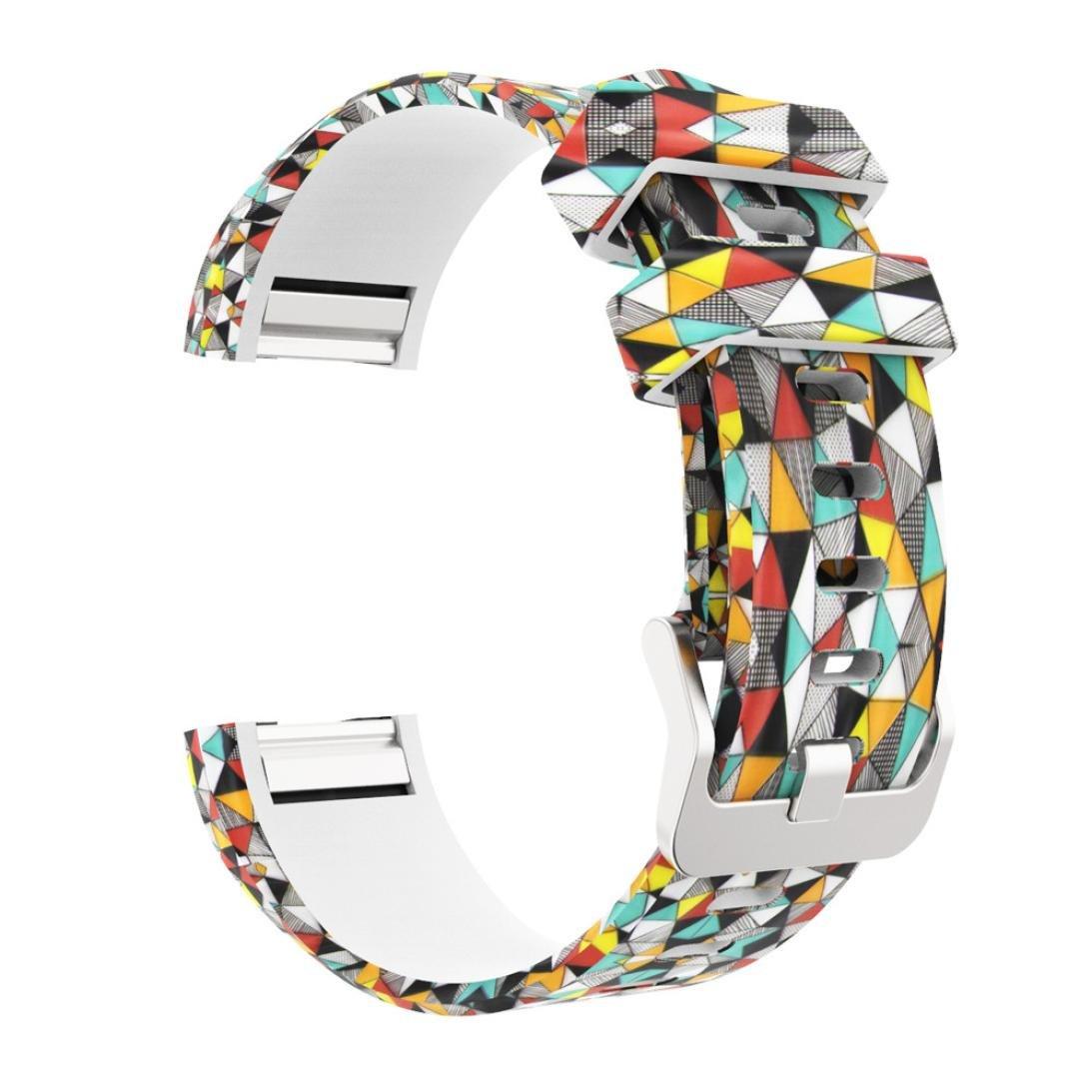 For C Fitbit For Charge 2、sukeqカラフルシリコンスポーツ交換用リストバンド調整可能フローラルプリントスマートウォッチバンドストラップ B078N785KD C B078N785KD, HAYARU:5f51043a --- arvoreazul.com.br