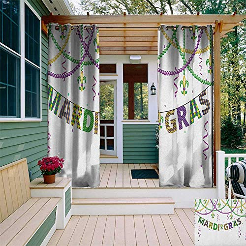 leinuoyi Mardi Gras, Outdoor Curtain Extra Wide, Festive Design with Fleur De Lis Icons Hanging from Colorful Beads, for Privacy W120 x L96 Inch Purple Green ()