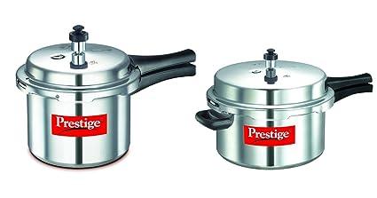 Prestige Popular Aluminium Pressure Cooker Combo Set (Pressure Cooker 7.5 Litres + Pressure Cooker 3 Litres), 2-Pieces