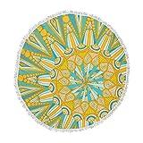 KESS InHouse Art Love Passionhere Comes the Sun Blue Yellow Round Beach Towel Blanket
