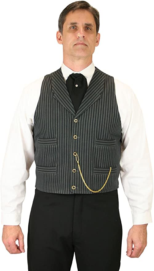 Victorian Men's Vests and Waistcoats Historical Emporium Mens Dawson Cotton Striped Dress Vest $66.95 AT vintagedancer.com