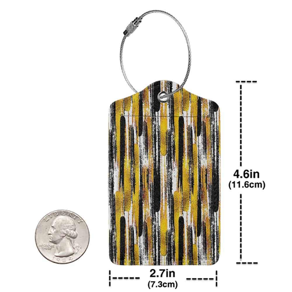 Modern luggage tag Modern Art Home Decor Grunge Brushstroke Expressionist Background with Paint Effects Design Suitable for children and adults Gold Black W2.7 x L4.6