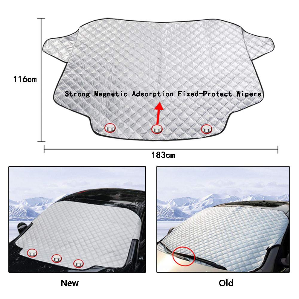 blocking snow fallen leaves bird excrement Fits Most of Car HY-MS Car Windshield Snow Cover Magnetic Windshield Winter Protector Blocking the heat of the sun