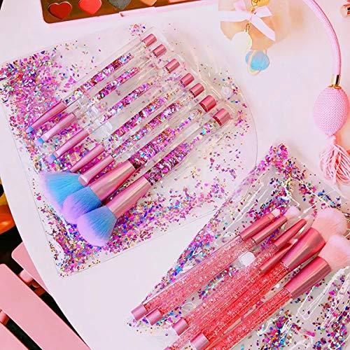Sparkle Makeup Brushes Set with Fan Brush,Colorful Beautiful Sparkles Bronzer Blush Power Fan Lip Eyeshadow Eyebrow Eye Blender Brush in Set