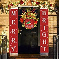 Aytai Christmas Porch Sign - Merry Christmas Signs Red Color Merry Bright Christmas Banner for Christmas Decorations Outdoor Indoor, Red Christmas Decorations for Home Wall Door Office Party