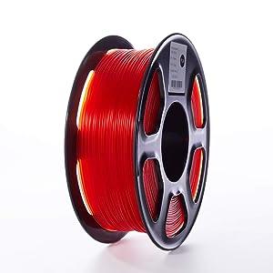TOPZEAL 3D Printer Filament, Transparent Series Color PLA Filament 1.75mm, Dimensional Accuracy +/- 0.02mm, 1KG Spool for 3D Printer and 3D Pen (Transparent-Red)