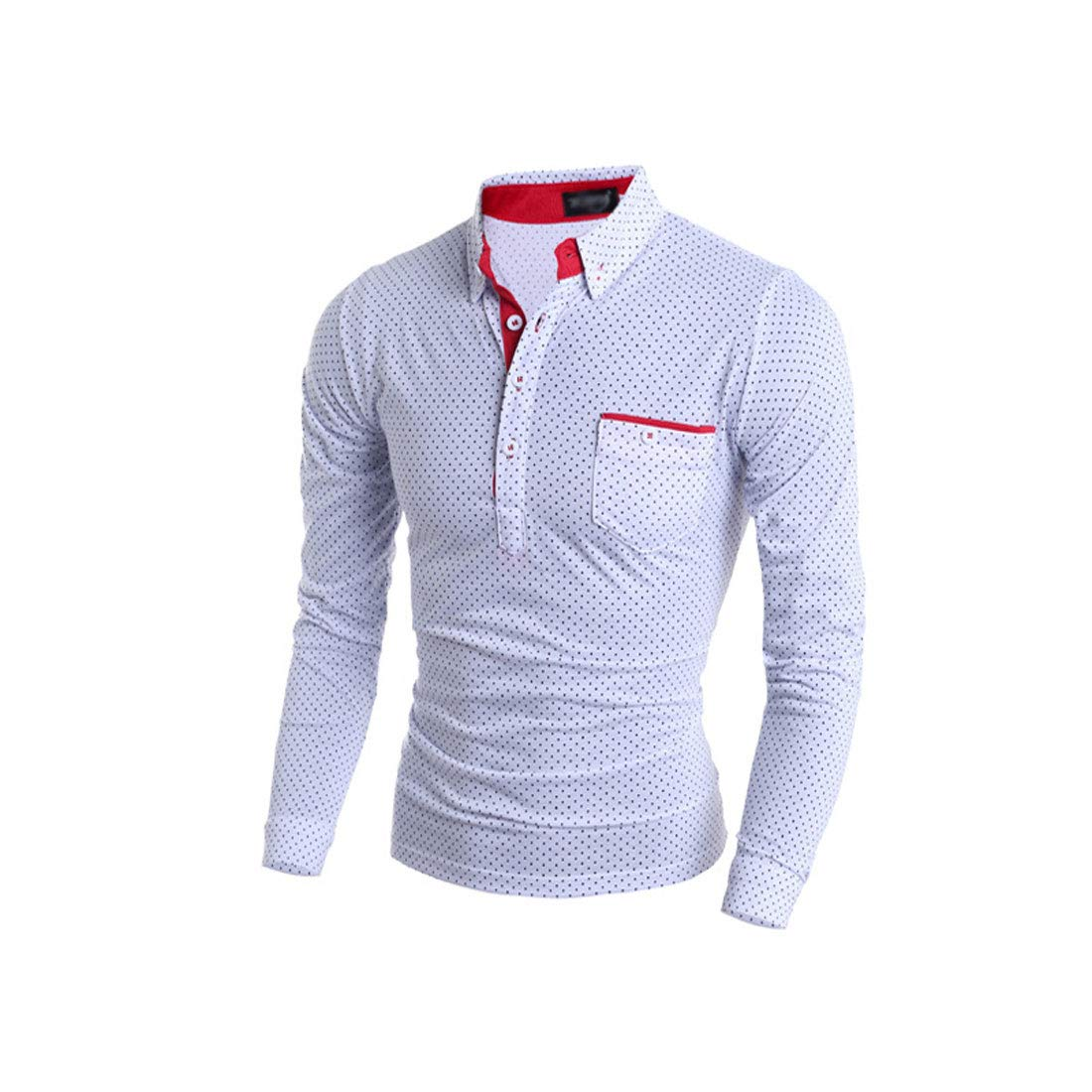 YaYu Men Polka Dot Fashion Skinny Long Sleeve Novelty Polo Shirt