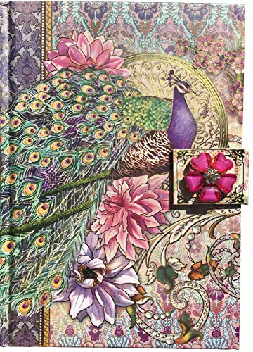 Punch Studio Jeweled Brooch Embellished Hardcover Journal ~ Nouveau Peacock 95058