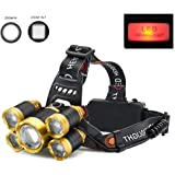 Headlamp, 10000 Lumens LED Headlamp flashlight Rechargeable Head Lights 5 LED Working Headlight Head Flashlight with Red Light for Fishing Cycling Running Camping