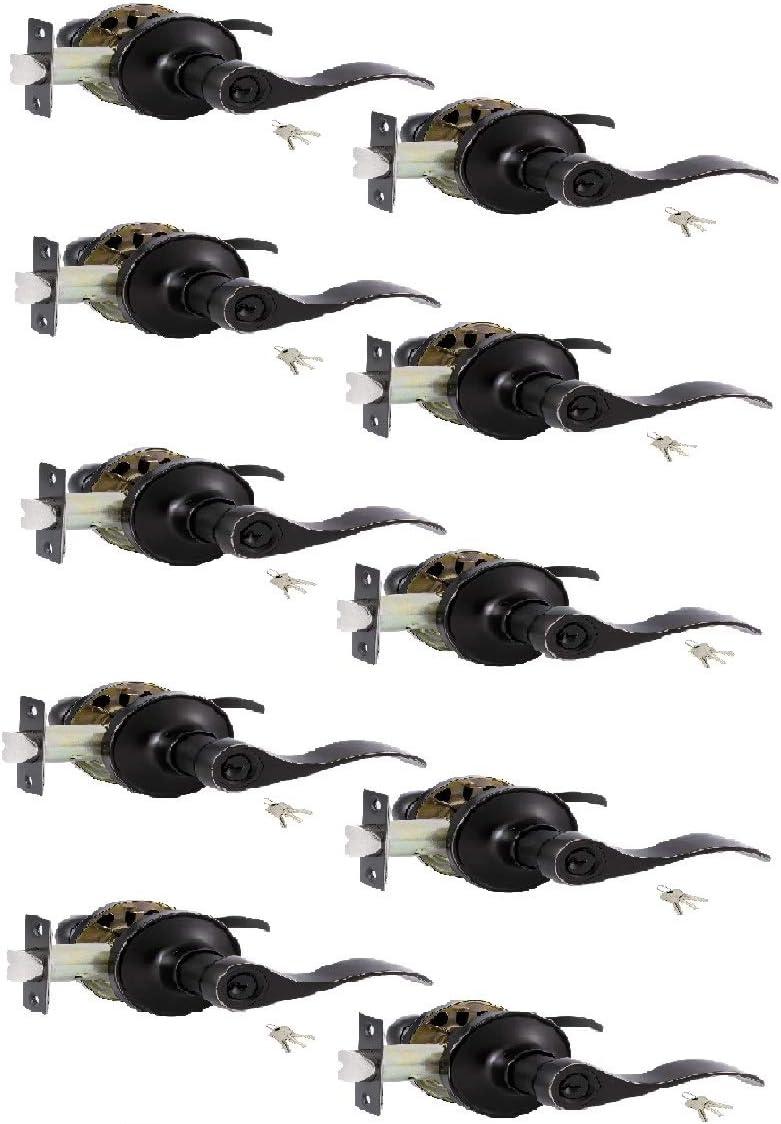 10 Pack Keyed Alike/Combo Keys Entry Door Knobs Lock Set, Vintage Bronze Stainless Steel Doorknob Handle Interior Security Knob with Locks and Keys for Storeroom/Bedroom