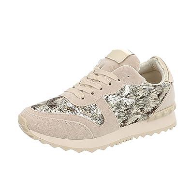 8ec39dba0202bd Ital-Design Sneakers Low Damen-Schuhe Sneakers Low Sneakers Schnürsenkel  Freizeitschuhe Beige Gold