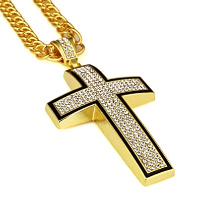 Amazon gold chain for men cross necklace hip hop jewelry 30 gold chain for men cross necklace hip hop jewelry 30 inchs aloadofball Images