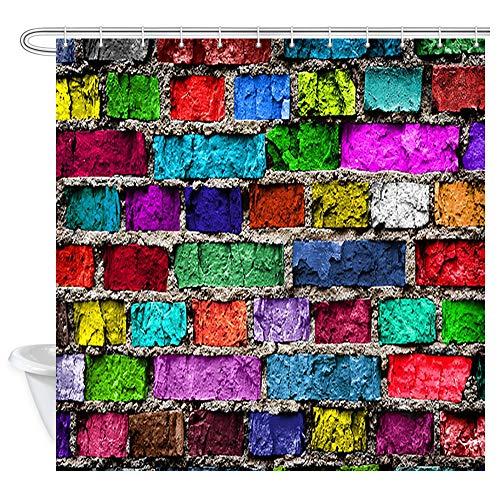 (DYNH Colourful Brick Wall Wallpaper Shower Curtain for Bathroom, Rustic Rainbow Colour Brick Wall Bath Curtains, Waterproof Fabric Showre Curtain 12PCS Shower Hooks, 69X70 in Valance)
