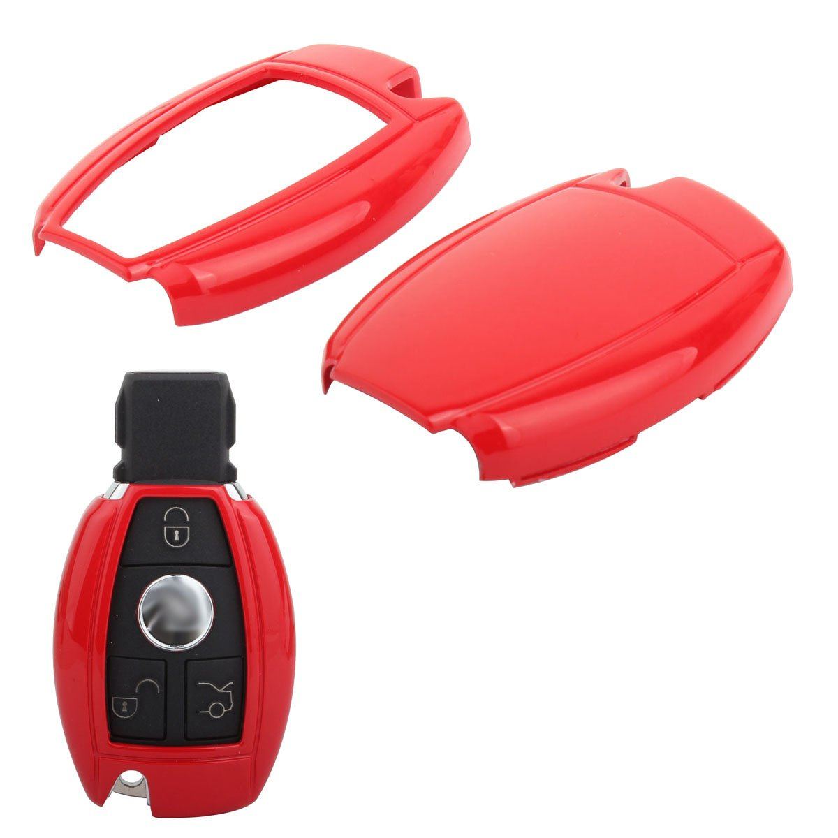 TOMALL Key cover Shell key case For Mercedes-Benz C E S CLS CLK GLK ML GL Class Red