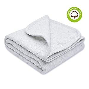 Organic Cotton Baby Blanket Warm, Breathable and Super Soft Quilted Toddler Blanket for Boys and Girls - Hypoallergenic Thermal Crib Blanket Thick and Light Weight 39''x47'' Large - Gray