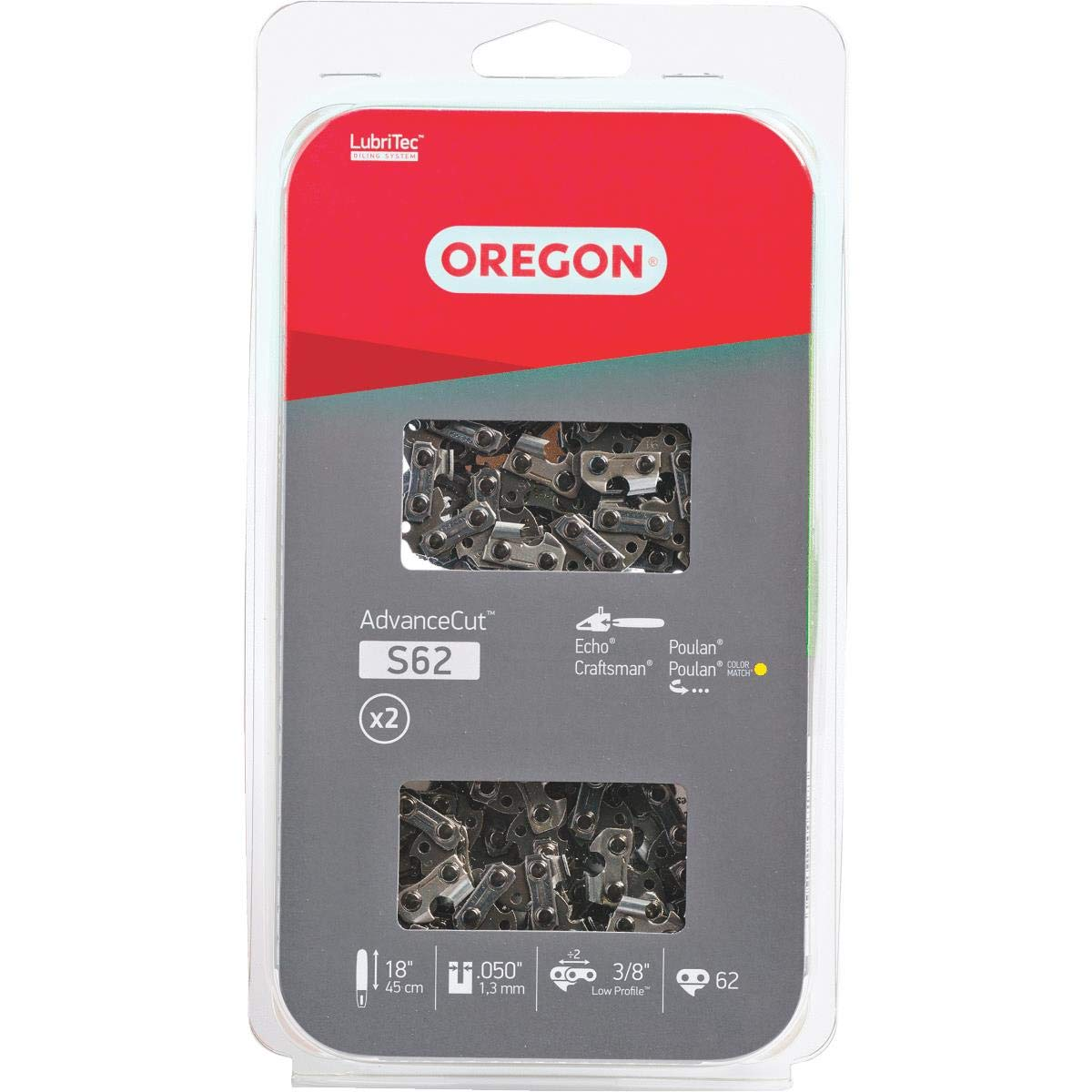 OREGON CUTTING SYSTEMS S62T 2-Pack C Loop Chain, 18-Inch