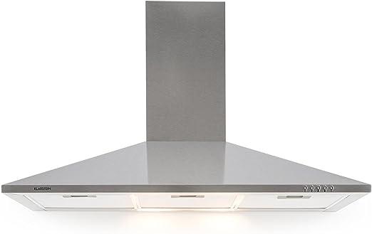 Klarstein TR90WS Campana extractora - Campana de pared, Aire de escape circulante, Iluminación, Ancho: 90 cm, 3 escalas, Capacidad: 340 m³/h, 3 filtros de grasa, Acero inoxidable, Plateado: Amazon.es: Grandes electrodomésticos