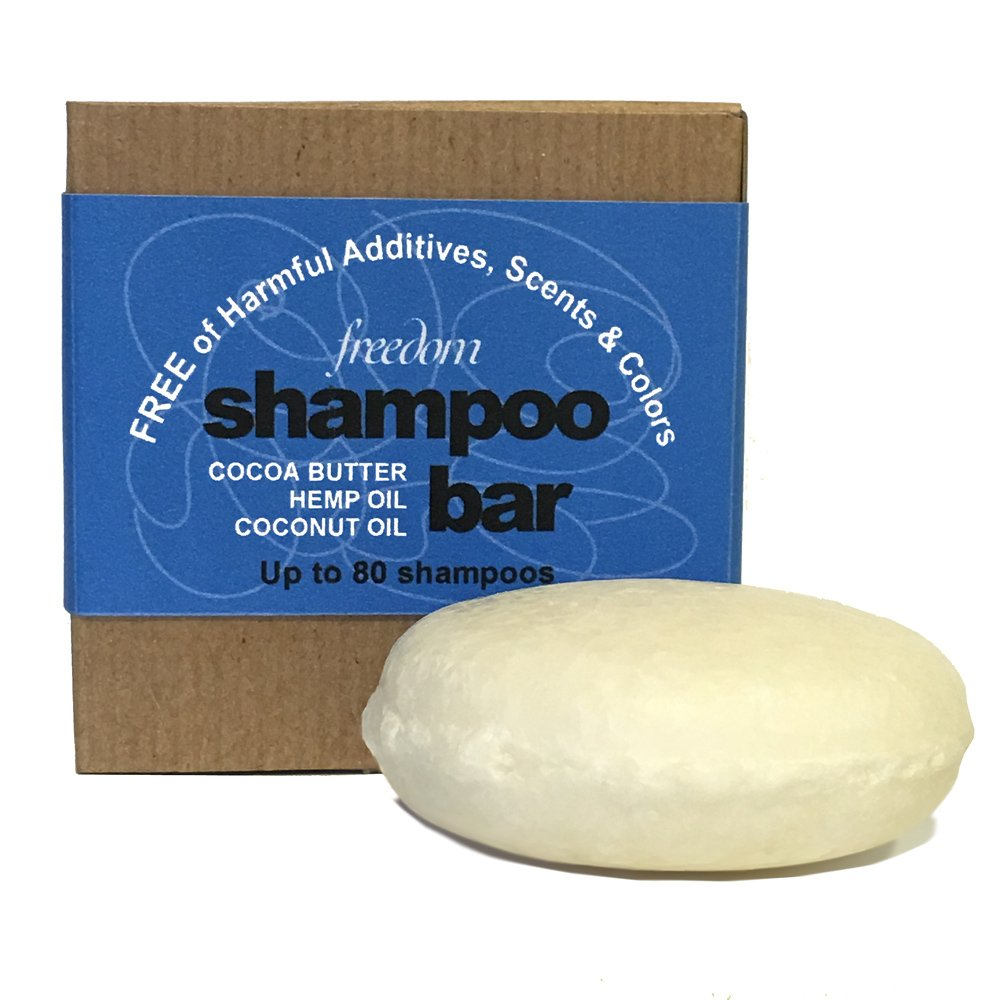 Whiff Shampoo Bar, Unscented: Only 4 Ingredients; Made USA Rich Lather, Pure Oils; Free from Harmful Additives, Fragrances, Scents and Colorings; Moisturizing, Concentrated Formula